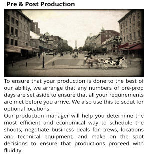 To ensure that your production is done to the best of our ability, we arrange that any numbers of pre-prod days are set aside to ensure that all your requirements are met before you arrive. We also use this to scout for optional locations. Our production manager will help you determine the most efficient and economical way to schedule the shoots, negotiate business deals for crews, locations and technical equipment, and make on the spot decisions to ensure that productions proceed with fluidity. Pre & Post Production